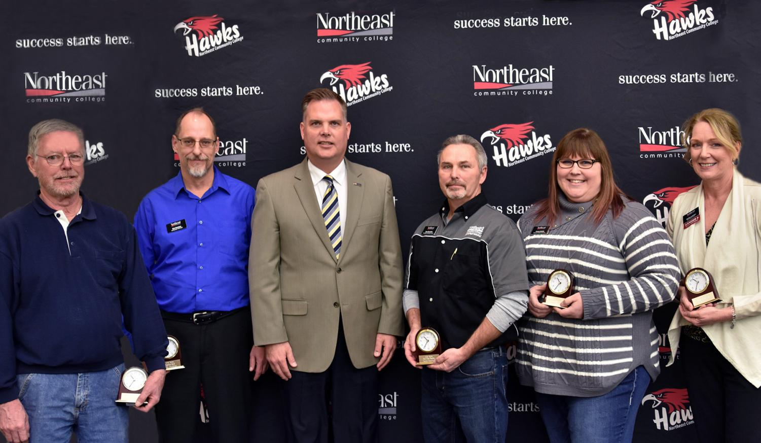 PHOTO ID: (from left) Don Burke, Kirk Christian, Troy Strom, Dave Beaudette, Carissa Kollath, and Shelley Lammers. (Courtesy Northeast Community College)