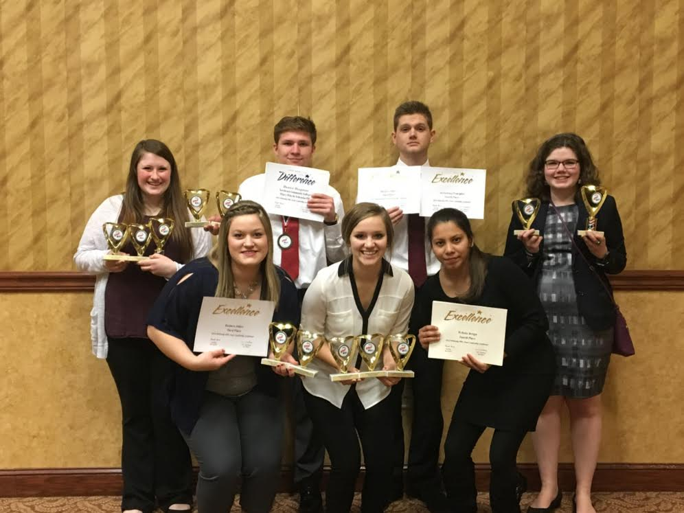 Members of Northeast Community College Phi Beta Lambda Club earned honors at the organizatoin's Nebraska Leadership Conference and business Competition held recently. Pictured (from top left) Shayla Kramer, Hunter Bergman, Jack Tyson, Emily Gonella, (from bottom left) Chelsea Wortman, Shanae Baker, Maria Lucas